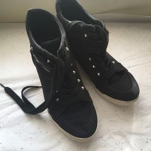 75f4f4502a0 G by Guess Shoes - G BY GUESS black wedge sneakers with studs